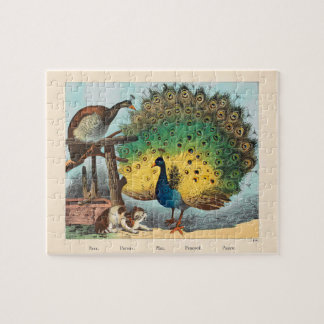 Vintage peacocks and a cat puzzles