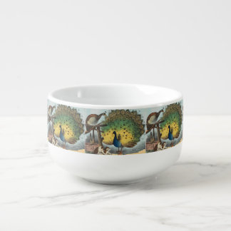 Vintage peacocks and a cat soup bowl with handle