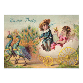 Vintage Peacocks & Egg Carriage Easter Party Card