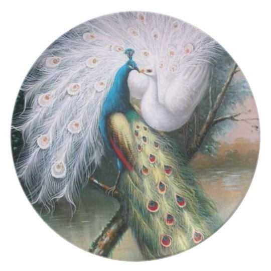Vintage Peacocks Kiss Plate