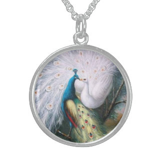 Vintage Peacocks Kiss Sterling Silver Necklace