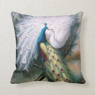 Vintage Peacocks Kiss Throw Pillow
