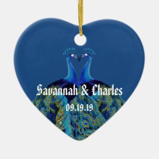 Vintage Peacocks Kissing Wedding Gifts Ceramic Ornament