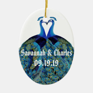 Vintage Peacocks Kissing Wedding Gifts Ceramic Ornament