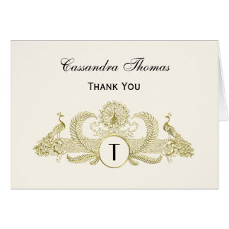 Vintage Peacocks Monogram Faux Gold Ivory BG Card