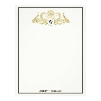 Vintage Peacocks Monogram Faux Gold Ivory BG Letterhead