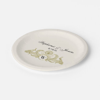 Vintage Peacocks Monogram Faux Gold Ivory BG Paper Plate