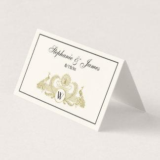 Vintage Peacocks Monogram Faux Gold Ivory BG Place Card