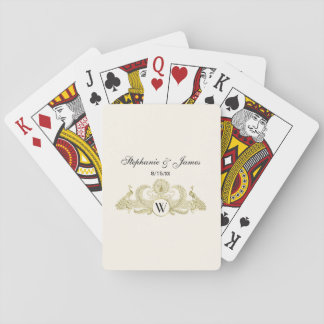 Vintage Peacocks Monogram Faux Gold Ivory BG Playing Cards