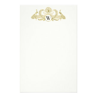 Vintage Peacocks Monogram Faux Gold Ivory BG Stationery