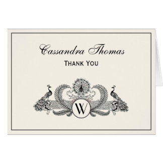 Vintage Peacocks Monogram Ivory BG Card