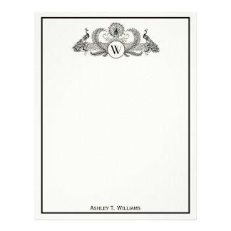 Vintage Peacocks Monogram Ivory BG Letterhead