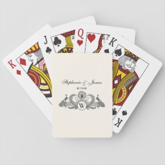 Vintage Peacocks Monogram Ivory BG Playing Cards