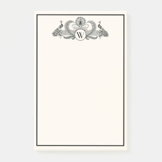 Vintage Peacocks Monogram Ivory BG Post-it Notes