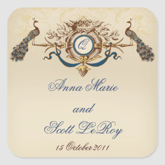 Vintage Peacocks Wedding Favour Stickers Names