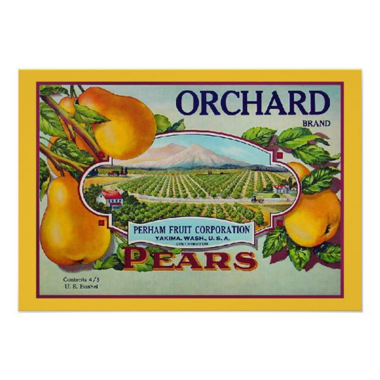 Vintage Pear Fruit Crate Label Print