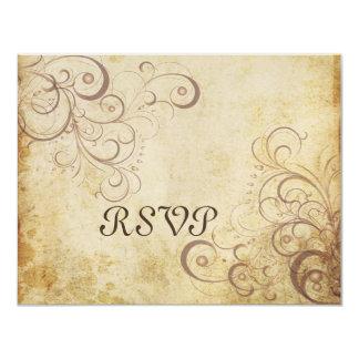 Vintage Pearl swirls RSVPs require 5x7 invitations