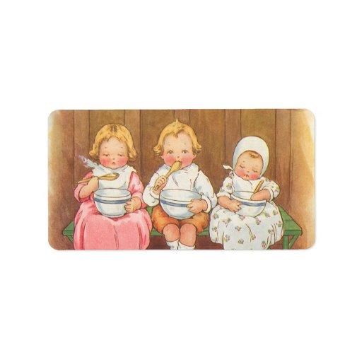 Vintage Pease Porridge Hot Childrens Nursery Rhyme Labels