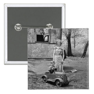 Vintage Pedal Car in the Great Depression, 1930s 2 Inch Square Button
