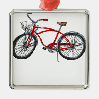 Vintage Pedal Power Bicycle Drawing Metal Ornament