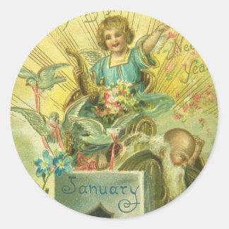 Vintage Pedestal Angel Classic Round Sticker