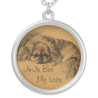Vintage Pekingese Silver Plated Necklace