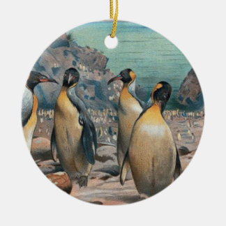 Vintage Penguin Herd Round Ceramic Ornament
