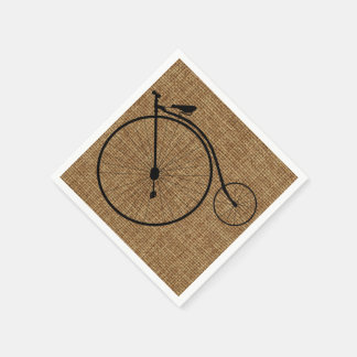 Vintage Penny-Farthing Bicycle On Faux Burlap Disposable Napkins