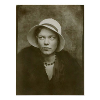 Vintage Pensive Woman In A Hat Poster