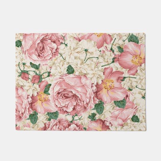 Vintage Peonies and Hydrangeas Doormat