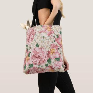 Vintage Peonies and Hydrangeas Pattern Tote Bag