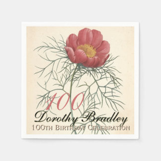 Vintage Peony 100th Birthday Party Paper Napkins