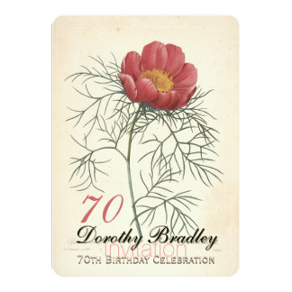 Vintage Peony 70th Birthday Celebration Invitation