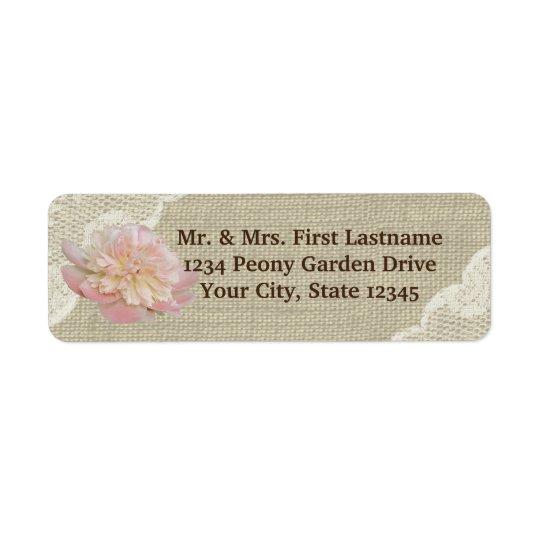 Vintage Peony Burlap and Lace Return Address Label