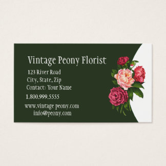 Vintage Peony Florist Shop Flower Business Card