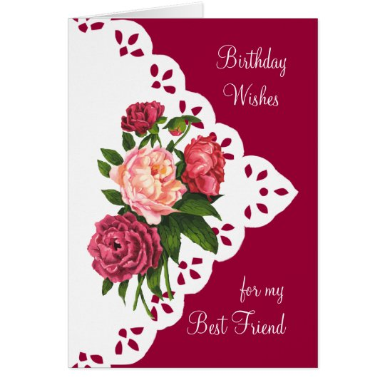 Vintage Peony Flower for Best Friend Birthday Card