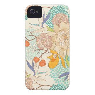 Vintage Peony Flower Pattern iPhone 4 Case