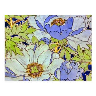Vintage Peony Flower Pattern Postcard