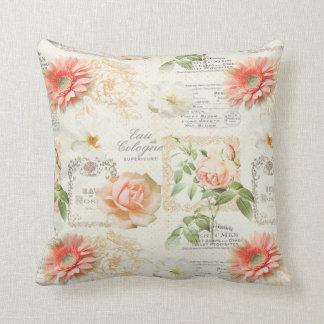 Vintage Peony Flowers Modern Pillow