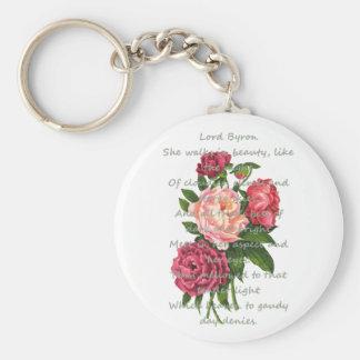 Vintage Peony Flowers Romantic Byron Poem Keychain