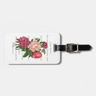 Vintage Peony Flowers Romantic Byron Poem Luggage Tag