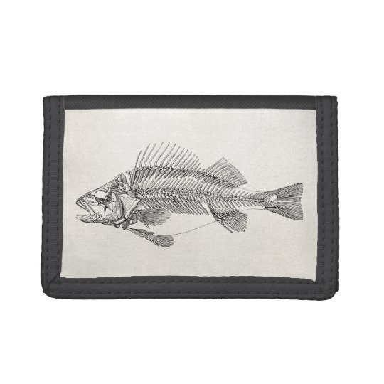 Vintage Perch Fish Skeleton - Fishes Template Tri-fold Wallet