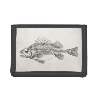 Vintage Perch Fish Skeleton - Fishes Template Tri-fold Wallets