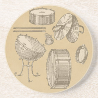 Vintage Percussion Instruments on Parchment Look Coaster