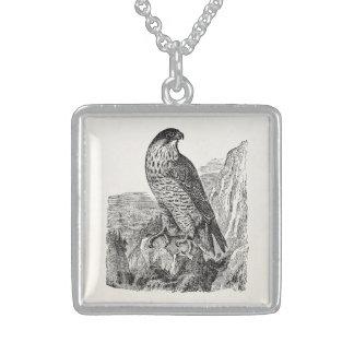 Vintage Peregrine Falcon Personalized Retro Birds Sterling Silver Necklace
