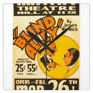 "Vintage Performing Arts ""Blind Alley"" WPA Poster Clock"