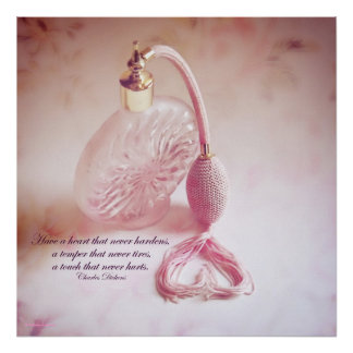 Vintage Perfume Bottle with heart Poster