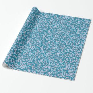 Vintage Persian Blue Lavender Purple Retro Floral Wrapping Paper