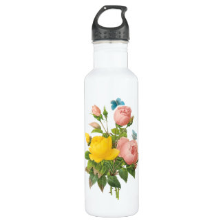 Vintage Persian Yellow Rose Tea Roses by Redoute 710 Ml Water Bottle