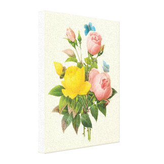 Vintage Persian Yellow Rose Tea Roses by Redoute Gallery Wrapped Canvas